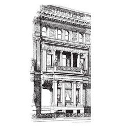 Recessed balcony house vintage engraving vector
