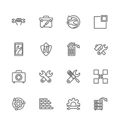recovery repair - flat line icons vector image