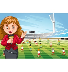 Reporter reporting sport news vector image vector image