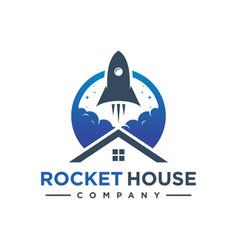 rocket house logo design vector image