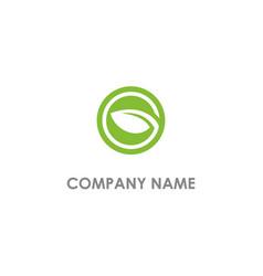 round leaf eco organic logo vector image