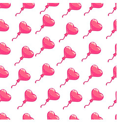 seamless pattern of pink hearts balloon vector image