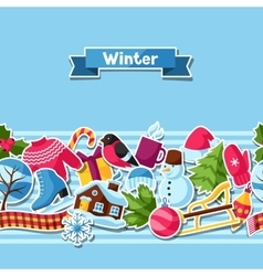 Seamless pattern with winter stickers Merry vector