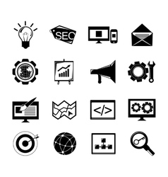 SEO icons set black vector image