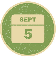 September 5th date on a single day calendar vector