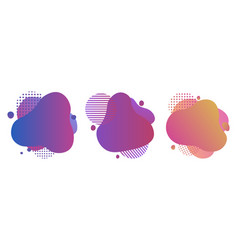 set colorful abstract liquid design gradient vector image