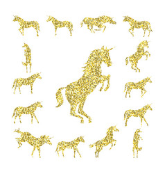Set gold unicorn silhouette vector