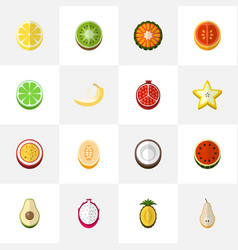 Set of 16 editable berry icons flat style vector