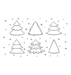 Set of black and white blank christmas trees vector