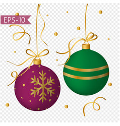 set of colored christmas balls with gold decor vector image