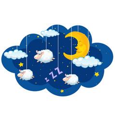 Sheep hanging in dark sky vector