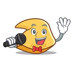 Singing fortune cookie mascot cartoon vector