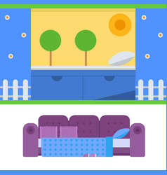 Sleeping furniture design bedroom exclusive vector