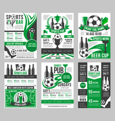 Soccer sports bar football pub menu posters vector