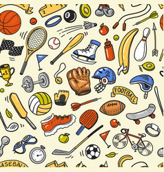 sport seamless pattern icons doodle style vector image