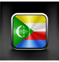 Square icon with flag of comoros vector
