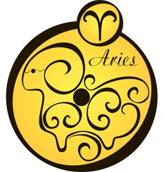 Stylized zodiac signs in a yellow circle aries vector