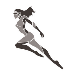 superhero flying action cartoon superhero woman vector image
