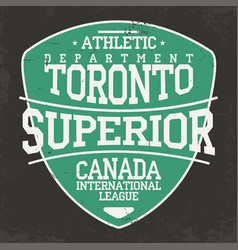 toronto canada sportswear emblem in shield form vector image