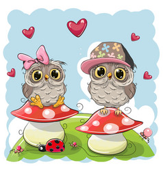 Two cute cartoon owls on mushrooms vector