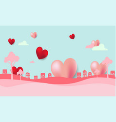 valentines day background with heart and houses vector image