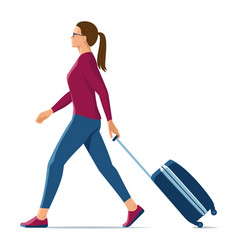 Walking woman with suitcase on white background vector