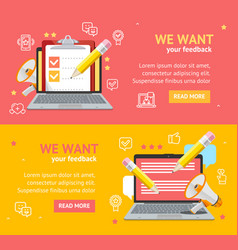 We want feedback banner card poster set vector