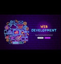 web development neon banner design vector image