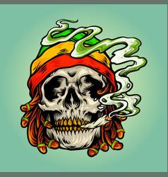 Weed skull smoke cannabis jamaican hat vector