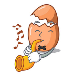with trumpet shell of broken egg on the mascot vector image