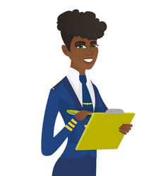 Young stewardess holding clipboard with documents vector