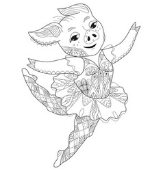 zentangle stylized pig ballerine hand drawn vector image