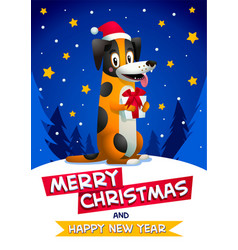 cute dog with merry christmas and happy new year vector image vector image