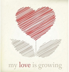 Growing heart on vintage paper vector image vector image