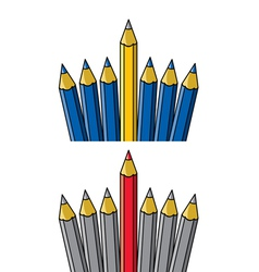 pencil standing out from others vector image