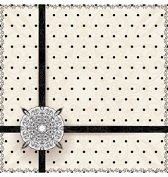 Vintage lace polka dots ornament card vector image