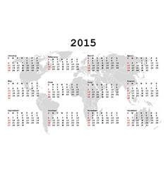2015 Calendar for agenda with world map vector image vector image