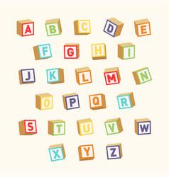 alphabet colorful toy blocks font for children vector image