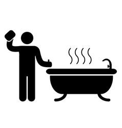bathroom badge icon vector image vector image