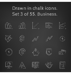 Business icon set drawn in chalk vector image