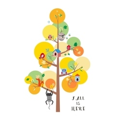Fall is here autumn tree flat vector image vector image