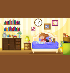 little girl playing with doll in bedroom vector image