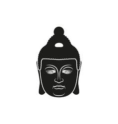 Simple black buddha face style vector