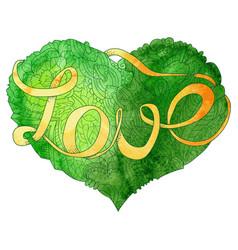 sketchy doodle green heart vector image