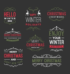 Christmas and New Year Decoration Set of Design vector image