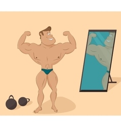 flat muscular sports man in the mirror Cartoon vector image