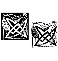 Heron bird on celtic ornament vector image vector image