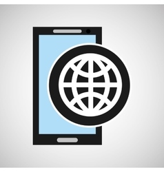 social media mobile app globe design vector image