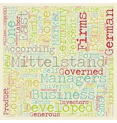 The Demise of the Mittelstand text background vector image vector image
