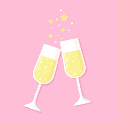two glasses full of champagne isolated on pink vector image